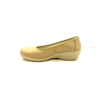 ALPINA WOMENS LOW WEDGE SLIP ON SHOE - BEIGE
