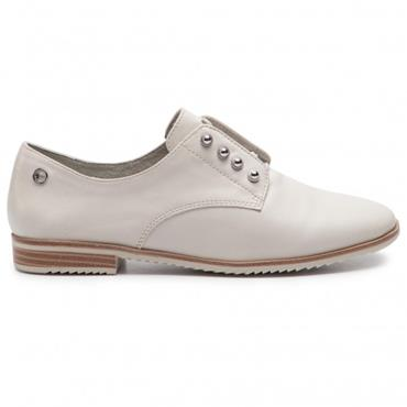 TAMARIS LDS FLAT TIE SHOE - OFF WHITE