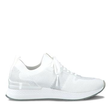 TAMARIS WOMENS WEDGE LACE TRAINER - WHITE SILVER