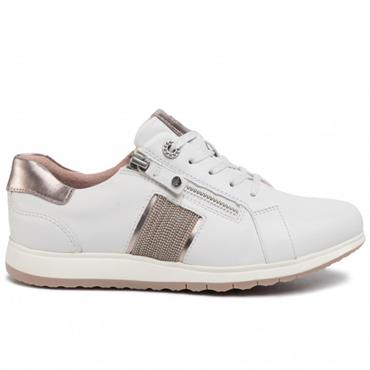 TAMARIS WOMENS LACE TRAINER - WHITE LEATHER