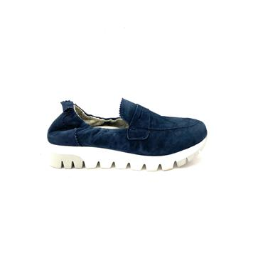 TAMARIS WOMENS CHUNKY SLIP ON LOAFER - NAVY