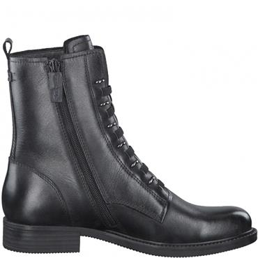 TAMARIS WOMENS FLAT LACE ANKLE BOOT - BLACK LEATHER