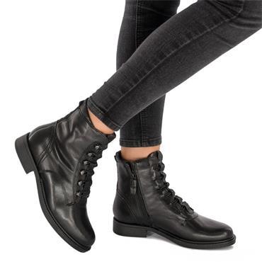 TAMARIS WOMENS 6 EYE CORD ZIP ANKLE BOOT - BLACK