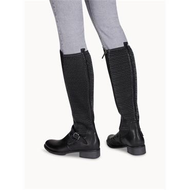 TAMARIS WOMENS 2TONE ZIP HIGH LEG BOOT - BLACK
