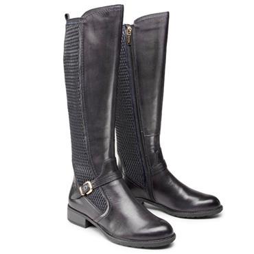TAMARIS WOMENS ZIP HIGH LEG BOOT - BLACK