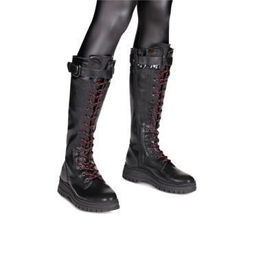 TAMARIS WOMENS BUCKLE ZIP HI LEG BOOT - BLACK LEATHER