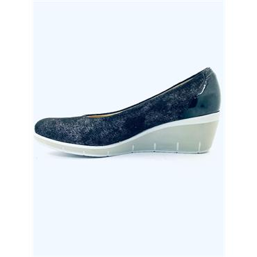 PITILLOS 2TONE WEDGE COURT SHOE - BLACK GREY