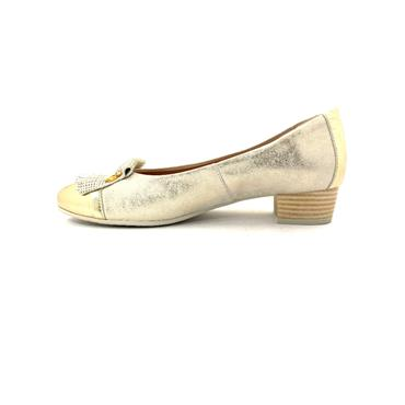 PITILLOS PIN FRINGE LOW HEEL COURT - GOLD