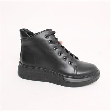 ROVIGO LDS LEATHER WEDGE TIE ANKLE BOOT - BLACK LEATHER