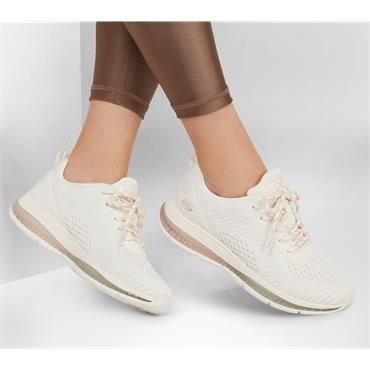 SKECHERS WOMENS BOBS SPORT LACE TRAINER - WHITE