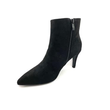 IDENTITY WOMENS POINT TOE ZIP ANKLE BOOT - BLACK SUEDE