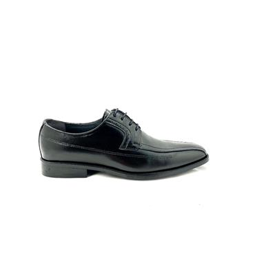 LUISETTI MENS LEATHER STITCH LACE SHOE - BLACK