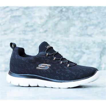 SKECHERS WOMENS WASHABLE LACE TRAINER - BLACK ROSE GOLD