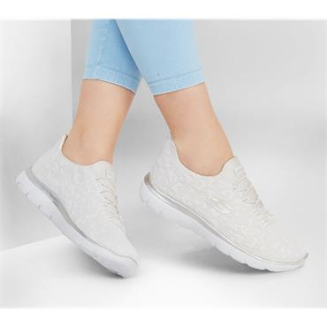 SKECHERS WOMENS WASHABLE LACE TRAINER - WHITE SILVER
