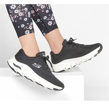 SKECHERS WOMENS ARCH FIT LACE TRAINER - BLACK WHITE
