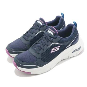 SKECHERS WOMENS ARCH FIT LACE TRAINER - NAVY PURPLE