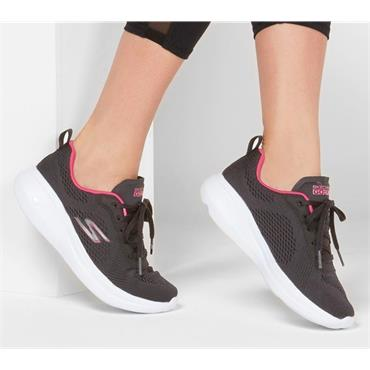 SKECHERS WOMENS GO RUN LACE TRAINER - BLACK PINK