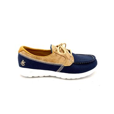 SKECHERS WOMENS LACE GO WALK LITE DECK - NAVY