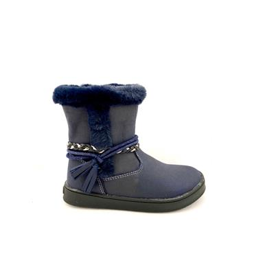 PIXELZ GIRLS FUR TOP STRAP ZIP BOOT - NAVY