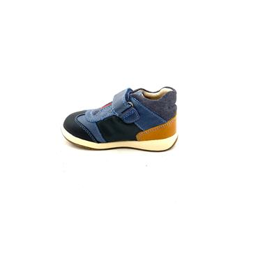 GARVALIN BOYS VEL STRAP SHOE - BLUE TAN