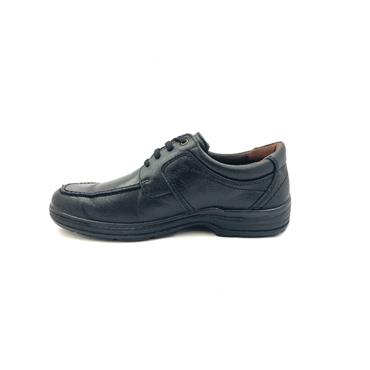 LUISETTI MENS LEATHER MOCC LACE SHOE - BLACK