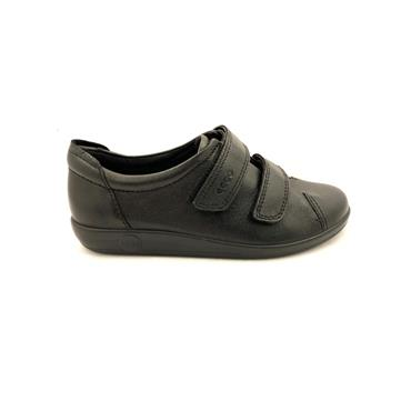 ECCO WOMENS SOFT VELCRO SHOE - BLACK