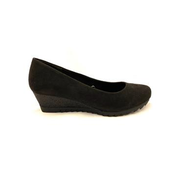 JANE KLAIN LDS WEDGE COURT SHOE - BLACK SUEDE