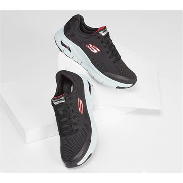 SKECHERS MENS ARCH FIT LACE TRAINER - BLACK RED