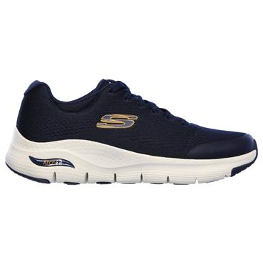 SKECHERS MENS ARCH FIT LACE TRAINER - NAVY