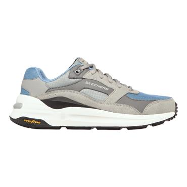 SKECHERS MENS AIR COOLED LACE TRAINER - GREY BLUE