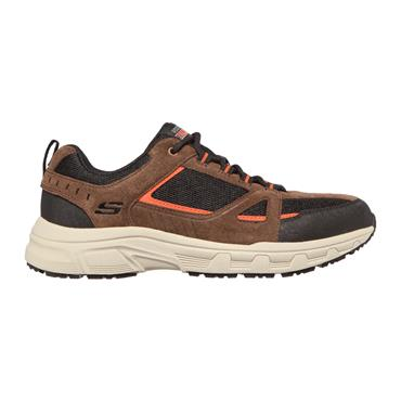 SKECHERS MENS OUTDOOR LACE TRAINER - CHOCOLATE BLACK