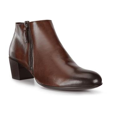 ECCO WOMENS 2 ZIP SHAPE ANKLE BOOT - BISON