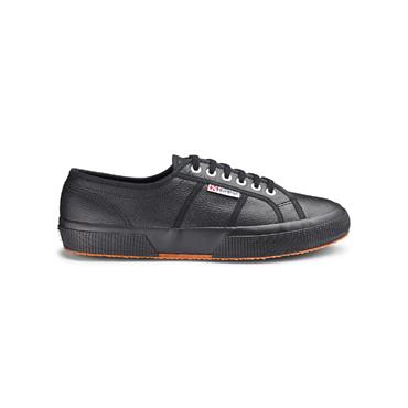 SUPERGA WOMENS LACE TRAINER - BLACK LEATHER