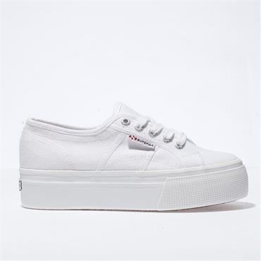 SUPERGA WOMENS DOUBLE WEDGE LACE TRAINER - WHITE