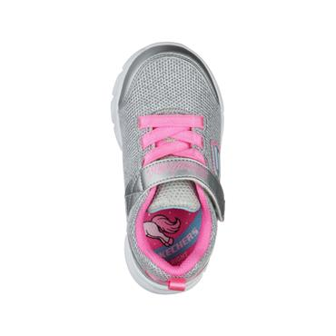 SKECHERS GIRLS VELCRO LACE TRAINER - SILVER PINK