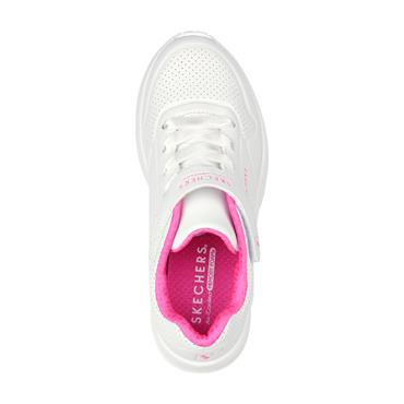SKECHERS GIRLS VELCRO LACE TRAINER - WHITE PINK