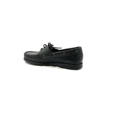 DECKS LDS TIE DECK SHOE - BLACK LEATHER