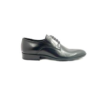 TRIOO MENS DRESS PLAIN LACE SHOE - BLACK LEATHER