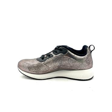 SKECHERS WOMENS BOBS SPORT LACE TRAINER - PEWTER