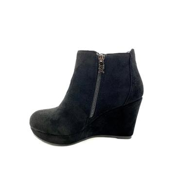 XTI LDS WEDGE 2 ZIP ANKLE BOOT - BLACK SUEDE