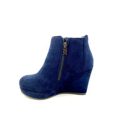 XTI LDS WEDGE 2 ZIP ANKLE BOOT - NAVY SUEDE
