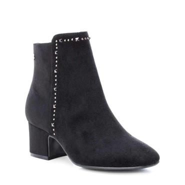 XTI WOMENS STUD ZIP ANKLE BOOT - BLACK SUEDE