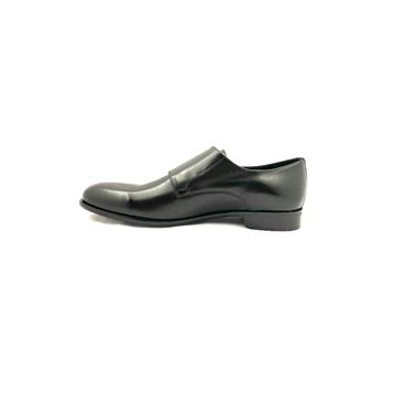 TRIOO MENS DRESS BUCKLE STRAP SHOE - BLACK LEATHER