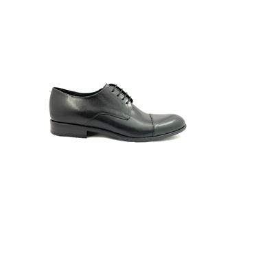 TRIOO MENS DRESS TOE CAP LACE SHOE - BLACK LEATHER