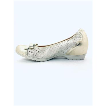 PITILLOS WOMENS WEDGE BOW TOECAP COURT - GOLD