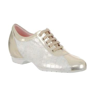 PITILLOS WOMENS WEDGE ZIP LACE SHOE - GOLD
