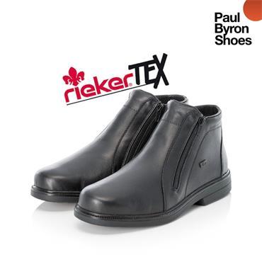 RIEKER MENS TEX TWIN ZIP BOOT - BLACK