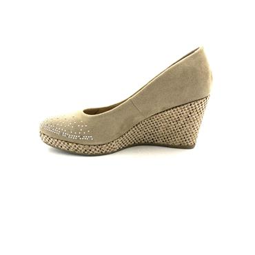 SPROX WOMENS WEDGE DIAMANTE COURT SHOE - TAUPE
