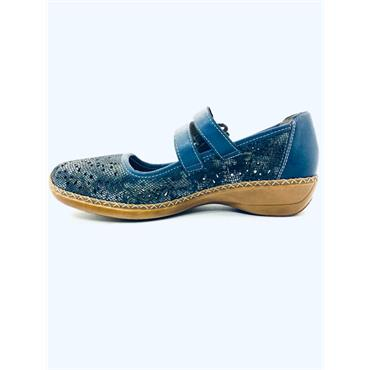 RIEKER STRAP PUNCH DESIGN SHOE - BLUE