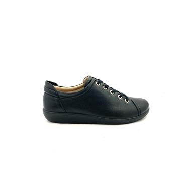 ATRAI WOMENS COMFORT TIE SHOE - BLACK LEATHER